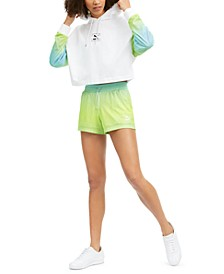 Neon Tie-Dyed Cropped Hoodie & Shorts