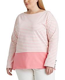 Plus-Size Striped Cotton Jersey Top