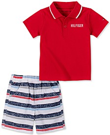 Baby Boys Polo and Striped Short Set