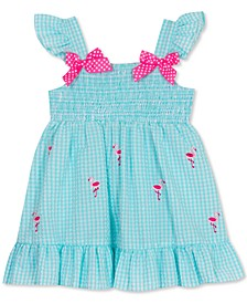 Baby Girls Smocked Gingham Seersucker Flamingo Dress