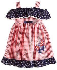 Baby Girls Red, White & Blue Seersucker Dress