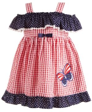 Blueberi Boulevard Baby Girls Red, White & Blue Seersucker Dress