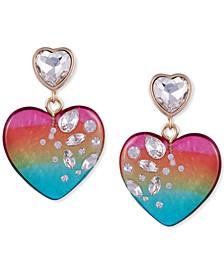 Crystal-Frosted Heart Drop Earrings