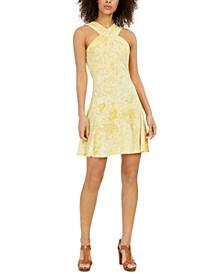 Petites Paisley-Print Crossover-Neck Dress