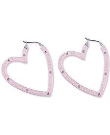 Silver-Tone Crystal Pink Heart Hoop Earrings
