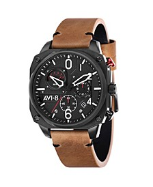 Men's Hawker Hunter Chronograph Retrograde Edition Brown Genuine Leather Strap Watch 45mm