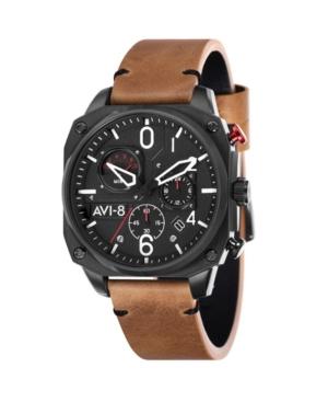 Men's Hawker Hunter Chronograph Retrograde Edition Brown Genuine Leather Strap Watch 45mm