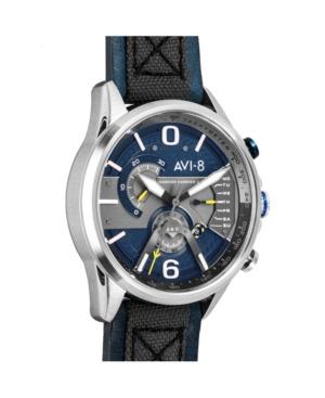 Men's Hawker Harrier Ii Chronograph Retrograde Edition Blue Genuine Leather and Nylon Strap Watch 45mm