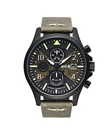 Men's Hawker Hurricane Chronograph Bulman Edition Green Genuine Leather Strap Watch 45mm