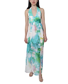 Juniors' Printed Chiffon Halter Maxi Dress