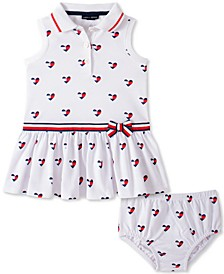 Baby Girls Heart Print Dress Set