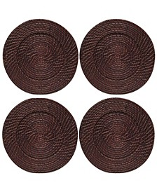 Jay Import Set/4 Round Rattan Charger Plate