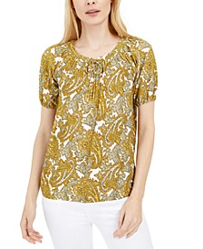 Paisley Short-Sleeve Top, Regular & Petite