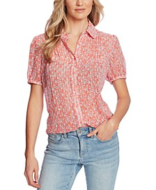 Printed Pintuck-Pleat Blouse