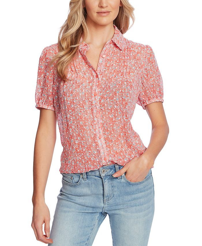 CeCe - Printed Pintuck-Pleat Blouse