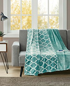 Oversized Ogee Print Electric Throw