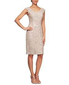 Cap-Sleeve Sequinned Sheath Dress