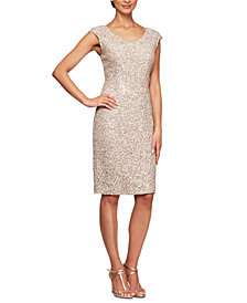 Alex Evenings Cap-Sleeve Sequinned Sheath Dress