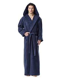 Men's Thick Full Ankle Length Hooded Turkish Cotton Bathrobe