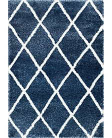 "Plush Shag Soft and Plush Diamond Blue 7'10"" x 10' Area Rug"