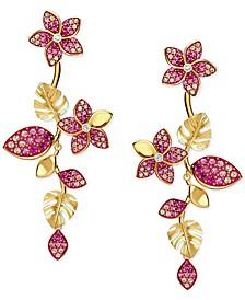 Gold-Tone Tropical Flower Linear Earrings