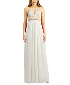 Juniors' Metallic-Bodice Ball Gown, Created for Macy's