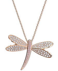 "Rose Gold-Tone Crystal Dragonfly Pendant 31-3/8"" Long Necklace"