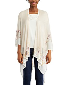 INC Floral Border Knit Ruana, Created for Macy's