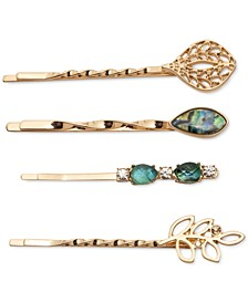 Gold-Tone 4-Pc. Crystal & Stone Bobby Pin Set