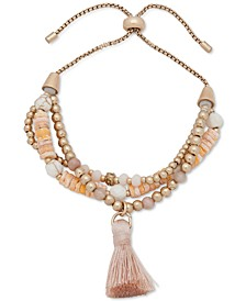 Bead & Tassel Multi-Row Slider Bracelet