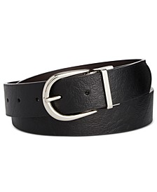 Reversible Flat-Strap Leather Belt
