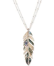 """Gold-Tone Pavé & Stone Feather 36"""" Pendant Necklace"""