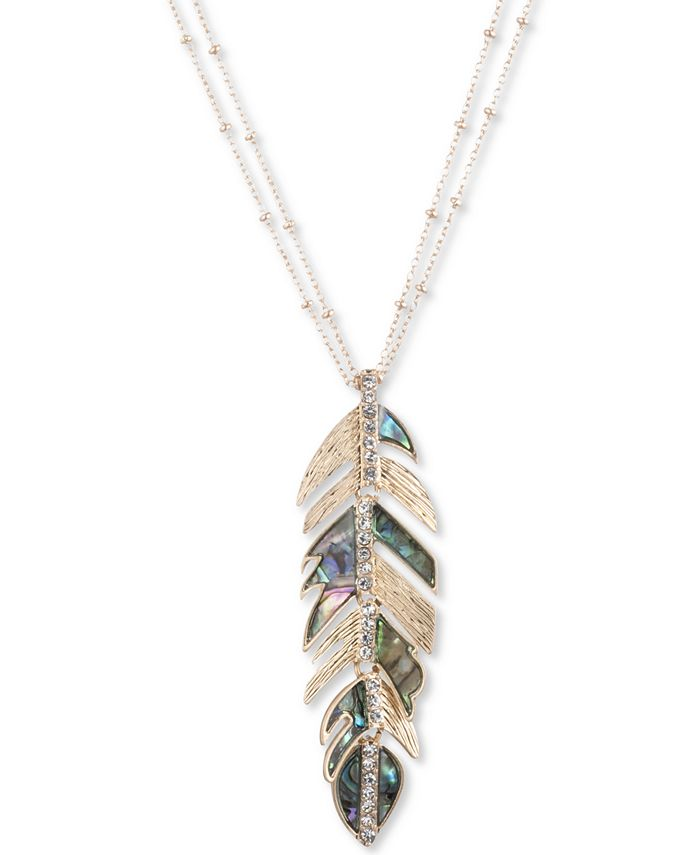 """lonna & lilly - Gold-Tone Pavé & Stone Feather 36"""" Pendant Necklace"""