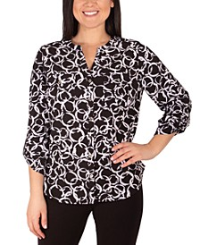 Petite Printed Utility Blouse