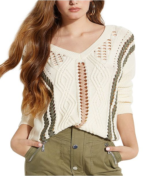 GUESS Novak Ribbon-Laced Pointelle Sweater