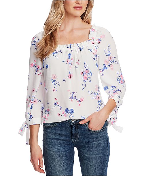 CeCe Printed Square-Neck Tie-Sleeve Top