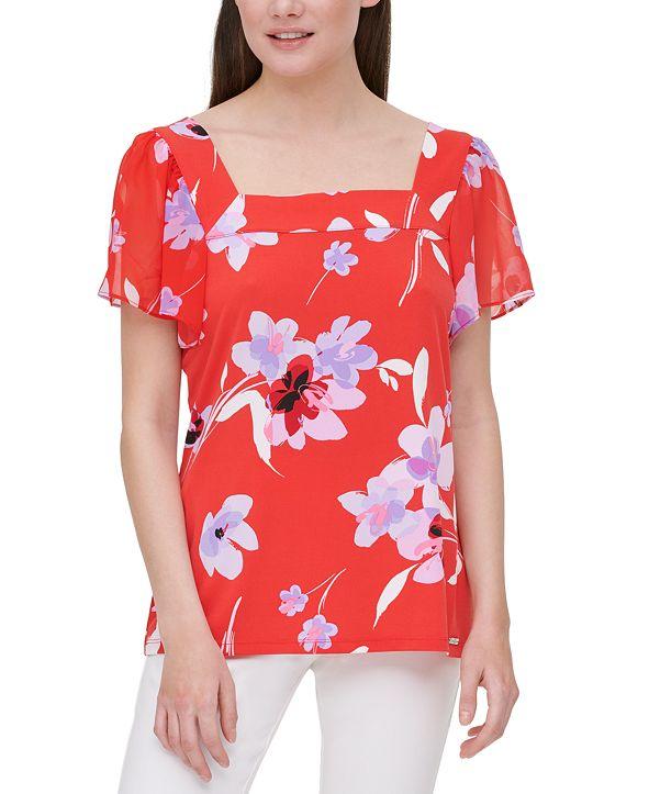 Calvin Klein Floral-Print Sheer-Sleeve Top
