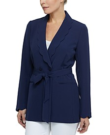 Women's Scallop Button Long Sleeve Blazer