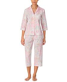 Petite Printed Woven Capri Pajama Set