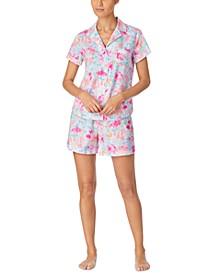 Printed Woven Boxer Shorts Pajama Set