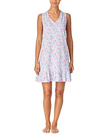 Cotton Printed Flounce Nightgown