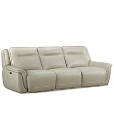 Lenardo 3-Pc. Leather Sofa with 3 Power Motion Recliners, Created for Macy's