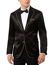 Men's Slim-Fit Black Sport Coat with Gold-Tone Taping