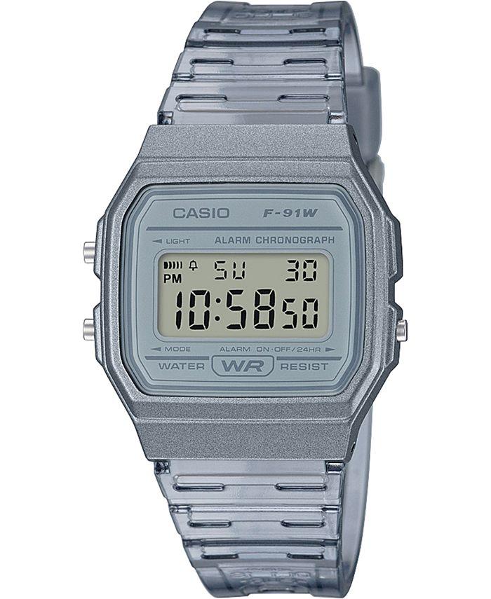 Casio - Unisex Digital Smoke Jelly Strap Watch 35.2mm