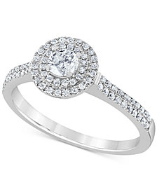 Diamond Double Halo Engagement Ring (1/2 ct. t.w.) in 14k White Gold