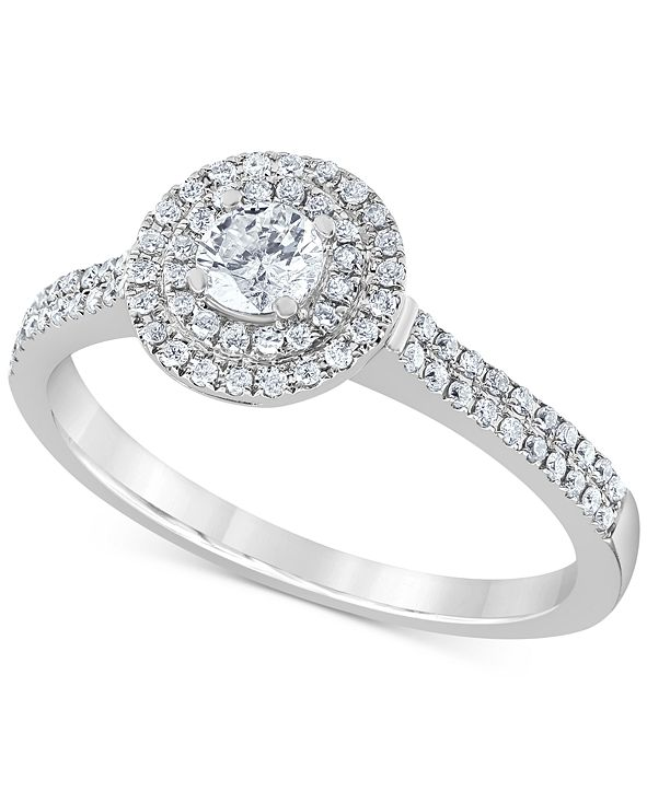 Macy's Diamond Double Halo Engagement Ring (1/2 ct. t.w.) in 14k White Gold