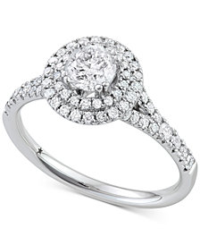 Diamond Double Halo Engagement Ring (1-1/10 ct. t.w.) in 14k White Gold