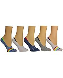 Women's Rainbow Stripe Foot Liner Socks, Pack of 5