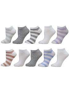 Women's Rugby Stripe Low Cut Socks, Pack of 10