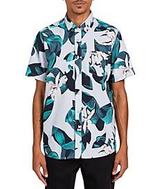 Men's Cut Out Floral Short Sleeve Shirt